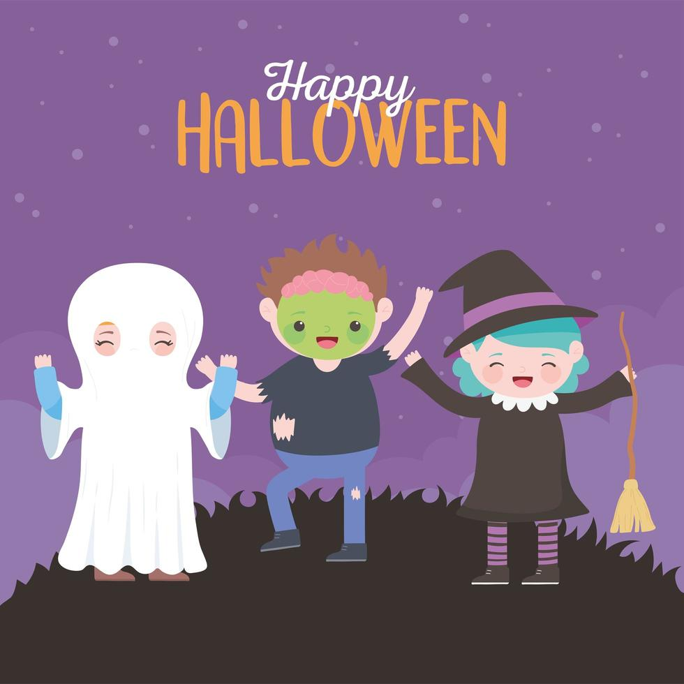 felice halloween, carta con i bambini in costumista vettore