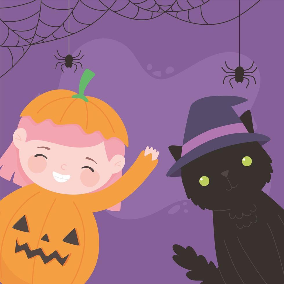 felice halloween, ragazza zucca con gatto vettore