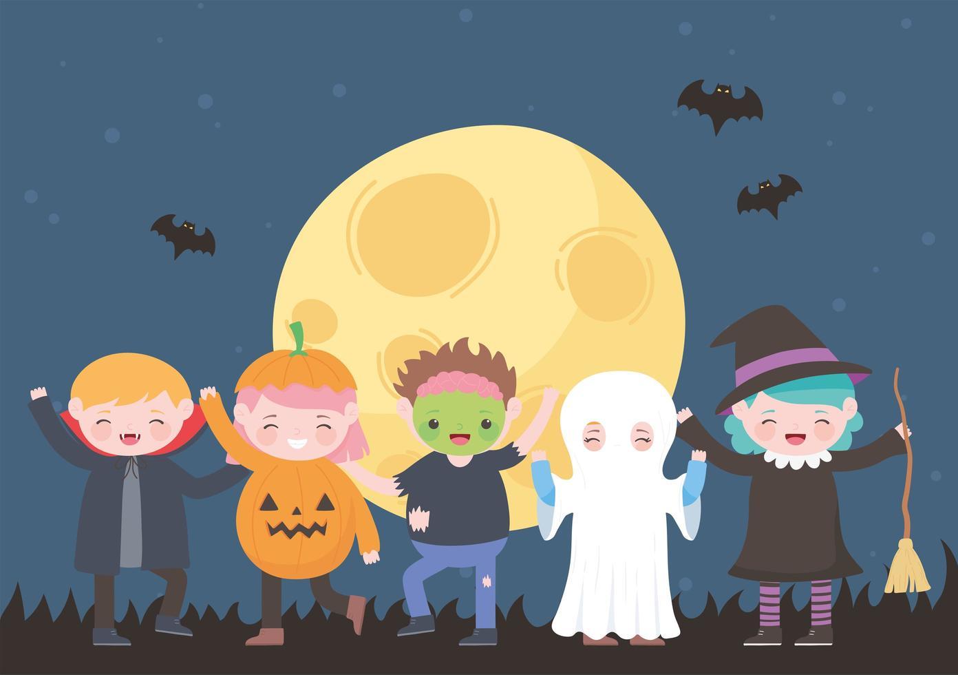 set di personaggi del costume di halloween vettore