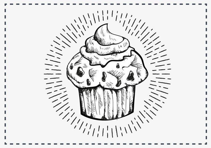 Sfondo di muffin disegnati a mano vettore