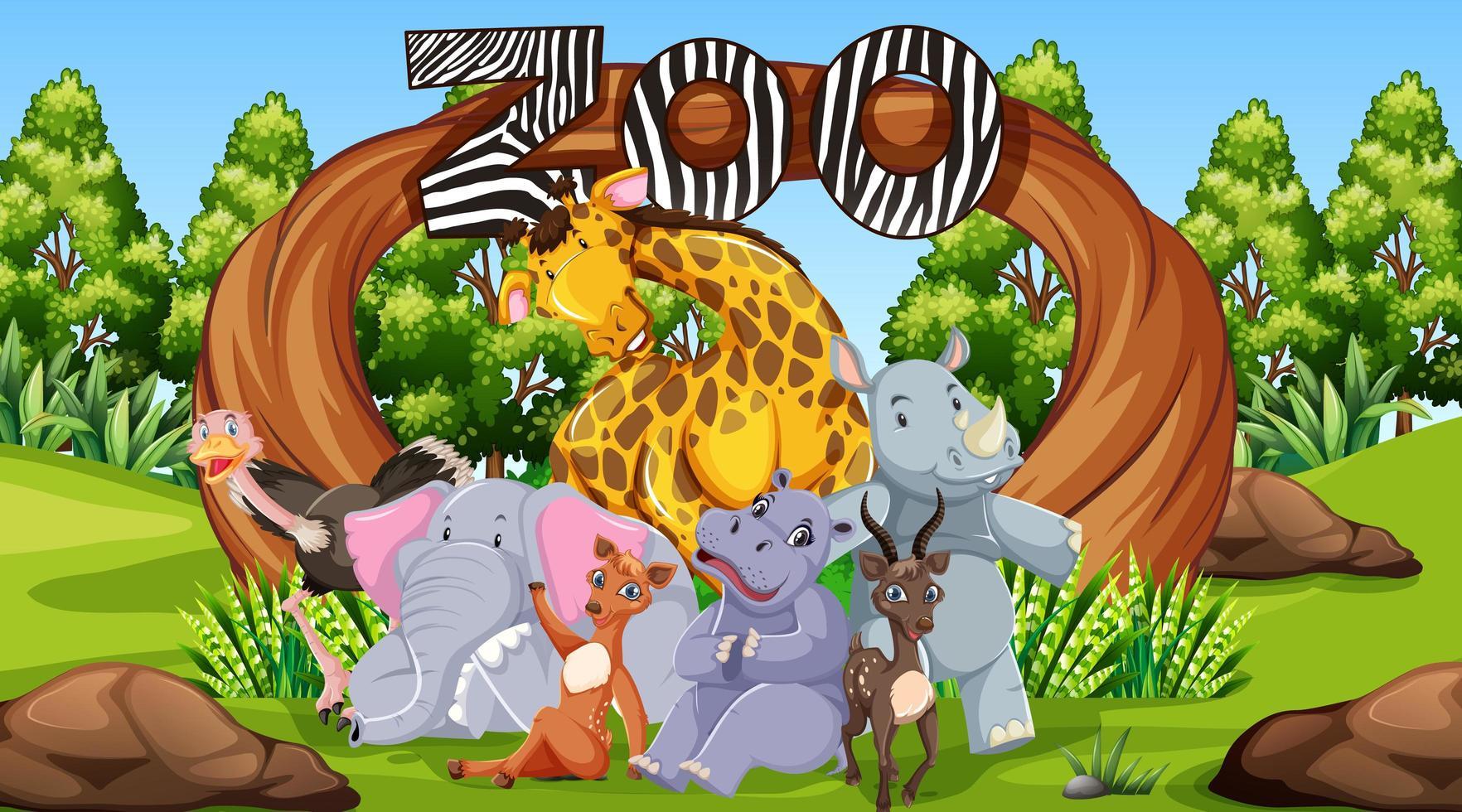 animali dello zoo nella natura selvaggia vettore
