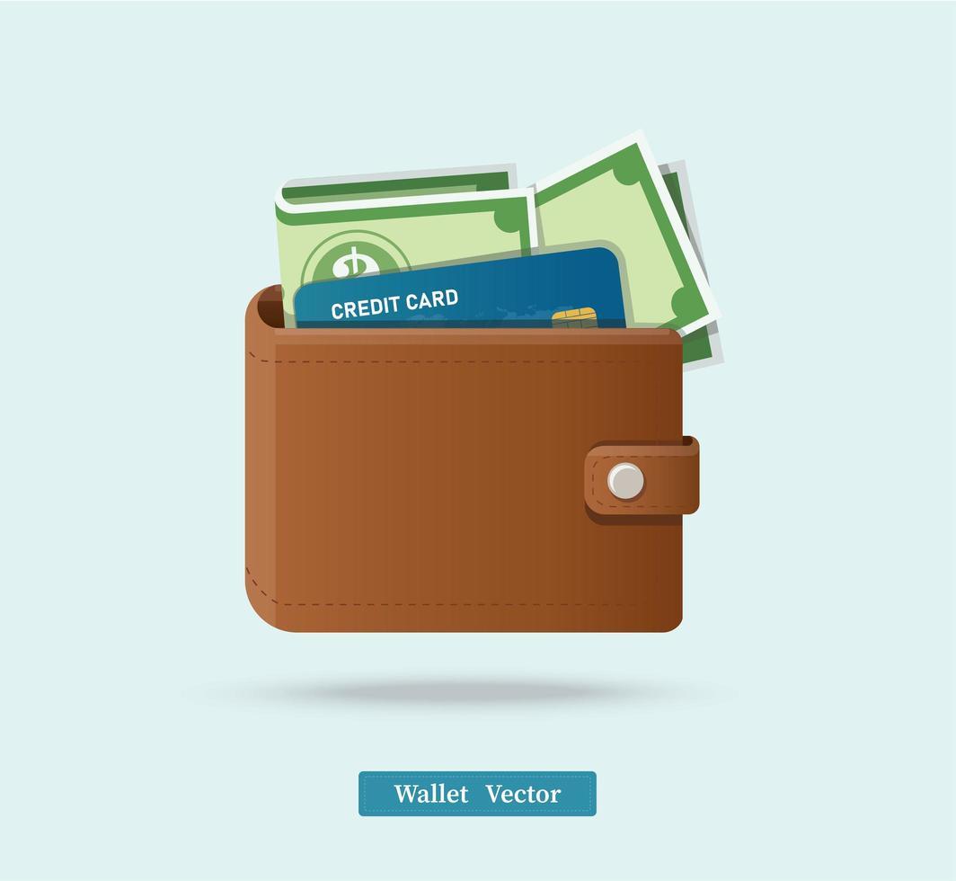 portafoglio marrone pieno di dollari verdi vettore