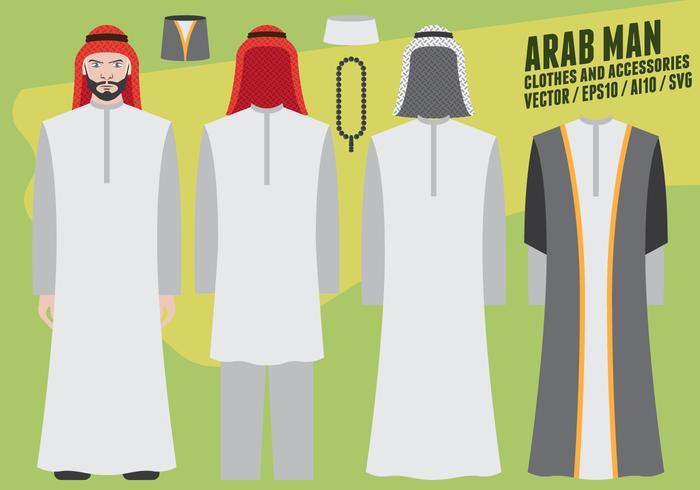 Abbigliamento e accessori uomo arabo vettore