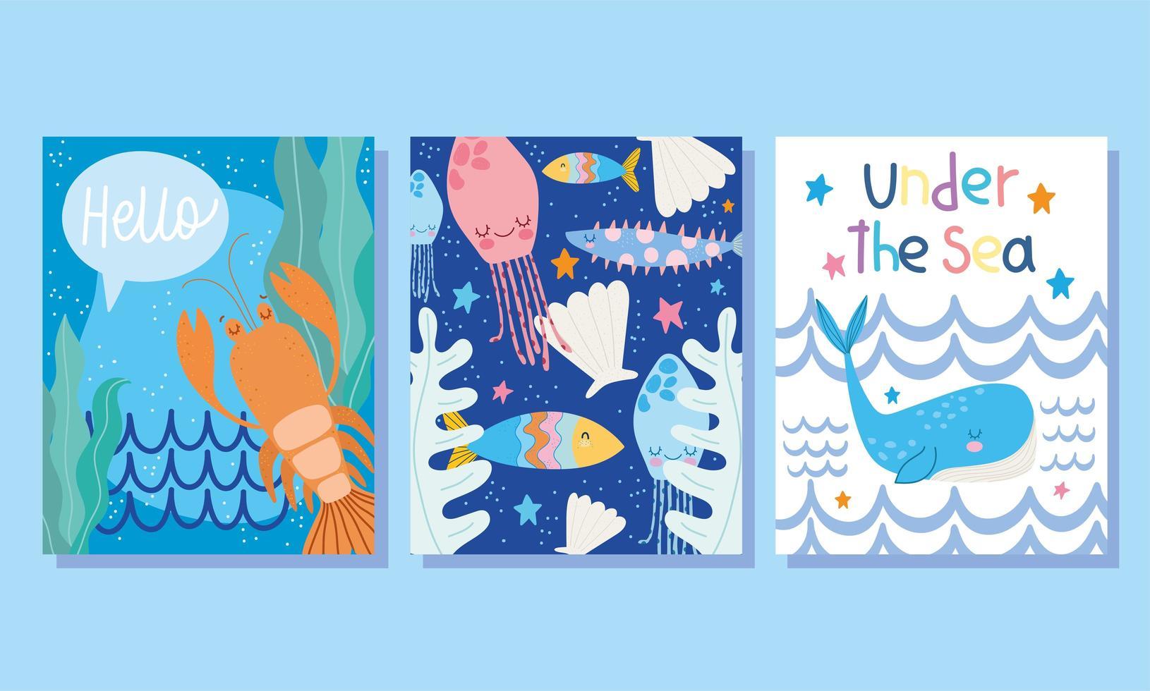 sotto il mare ampie carte di vita marina vettore
