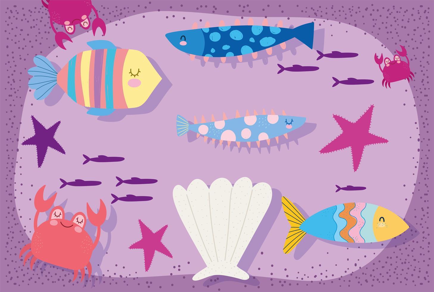 scena di granchio di stelle marine conchiglia di pesci vettore