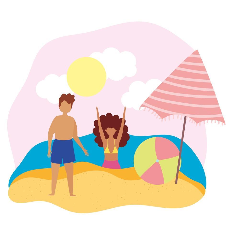 ragazzo e ragazza con palla e ombrellone in spiaggia vettore
