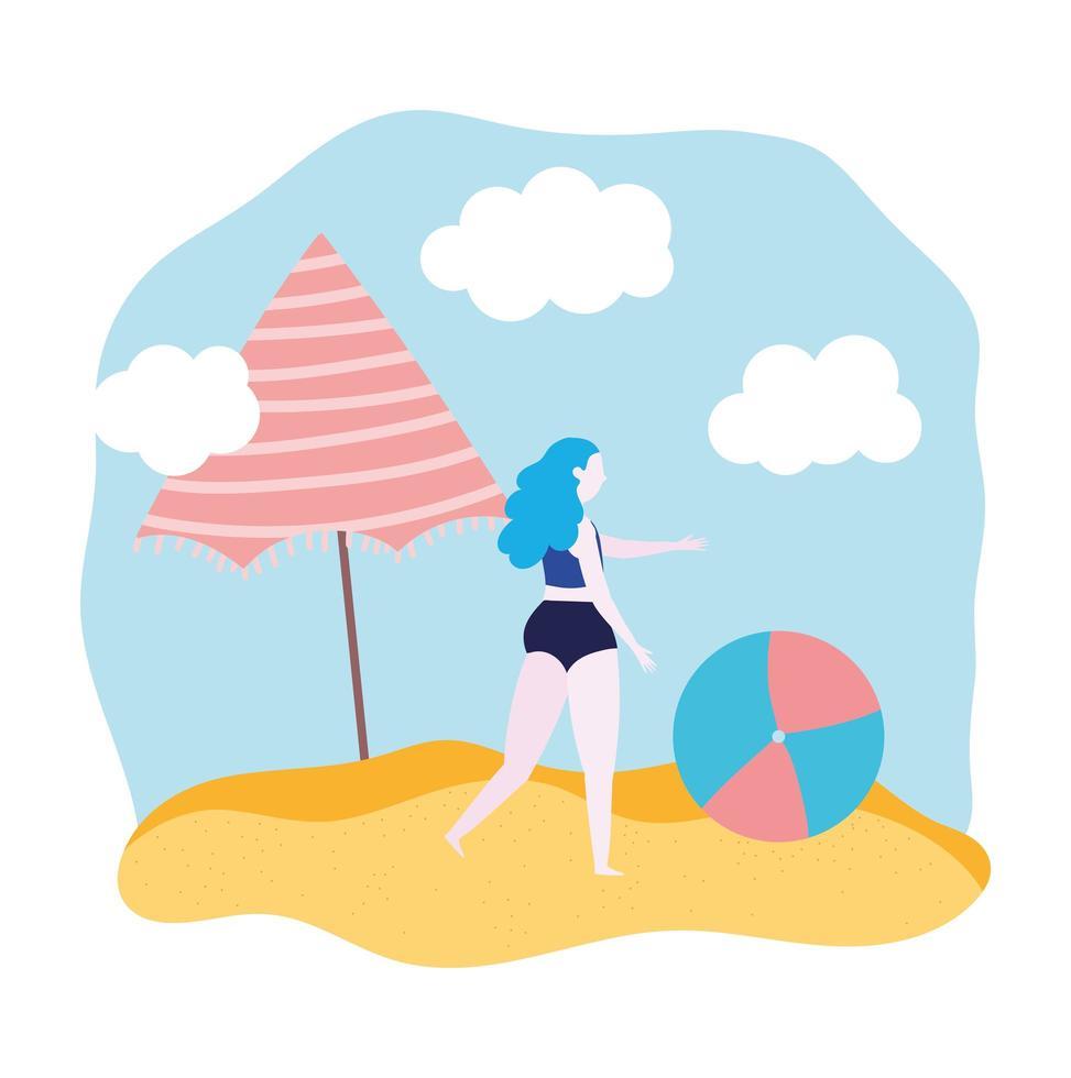 ragazza con palla e ombrellone in spiaggia vettore