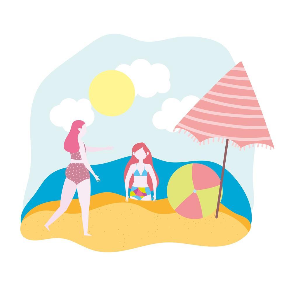 donna e ragazza con ombrellone e palla in spiaggia vettore