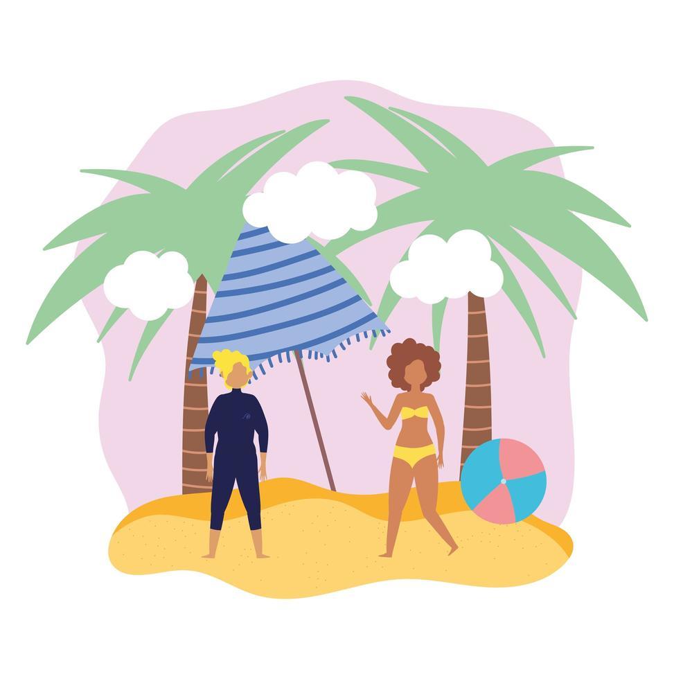 uomo e donna con ombrellone e palla in spiaggia vettore