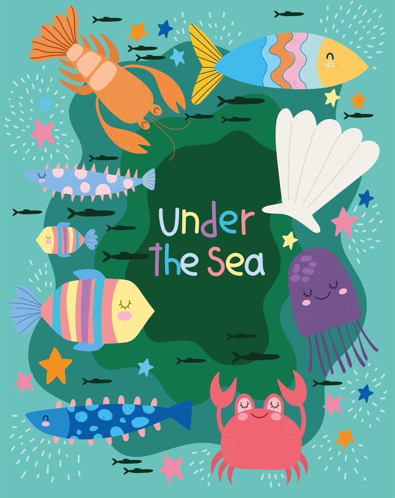 mondo con diversi abitanti scena marina vettore