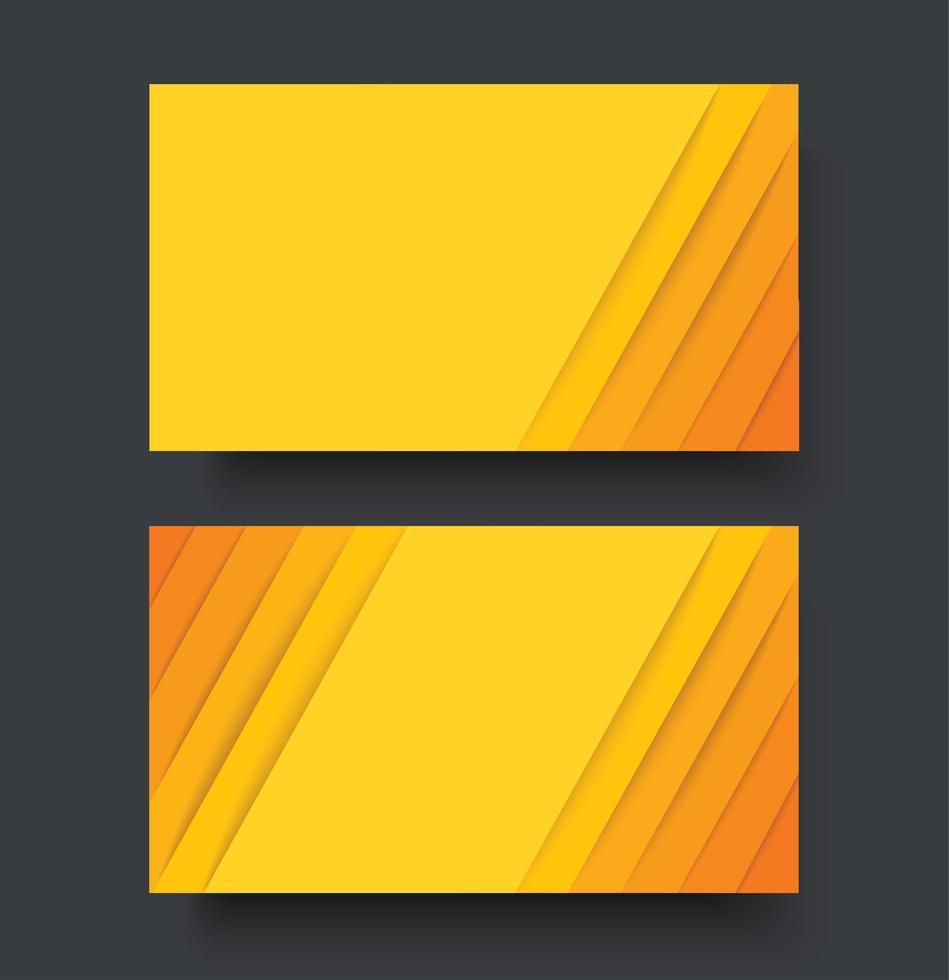 modello di biglietto da visita bifacciale con linee gialle vettore