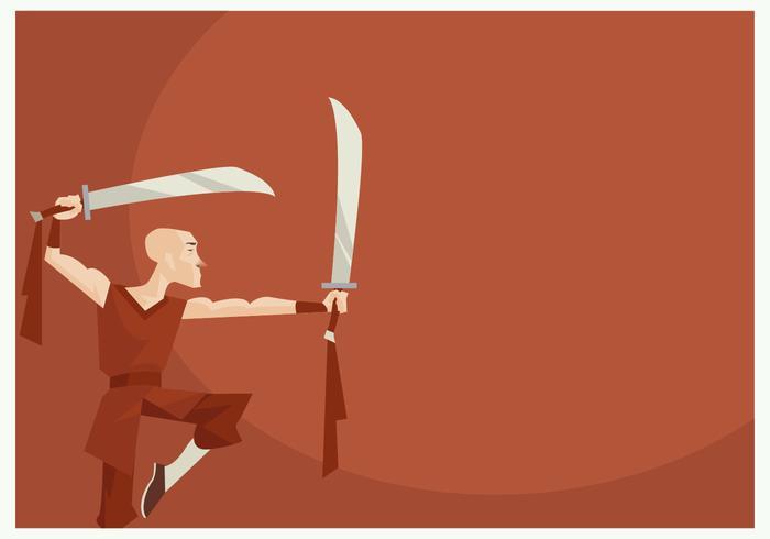 Monaco Shaolin eseguendo Wushu con due vettore di spada