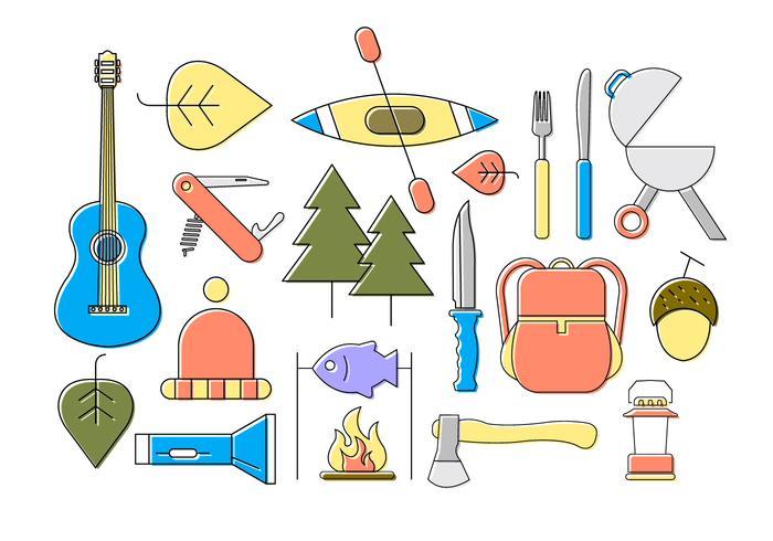 Icone di campeggio piatte vettore