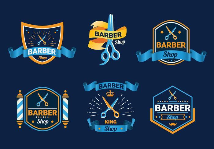 Vettore di logo del negozio di barbiere dell'etichetta di forbici
