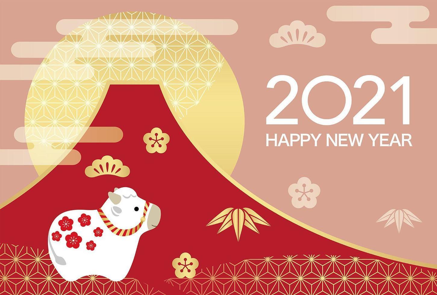 2021 felice anno nuovo del design del bue vettore