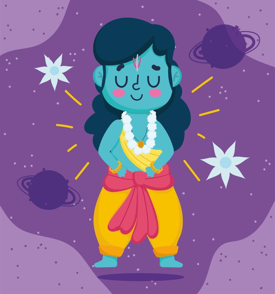 felice festival di dussehra dell'india, personaggio dei cartoni animati di lord rama vettore