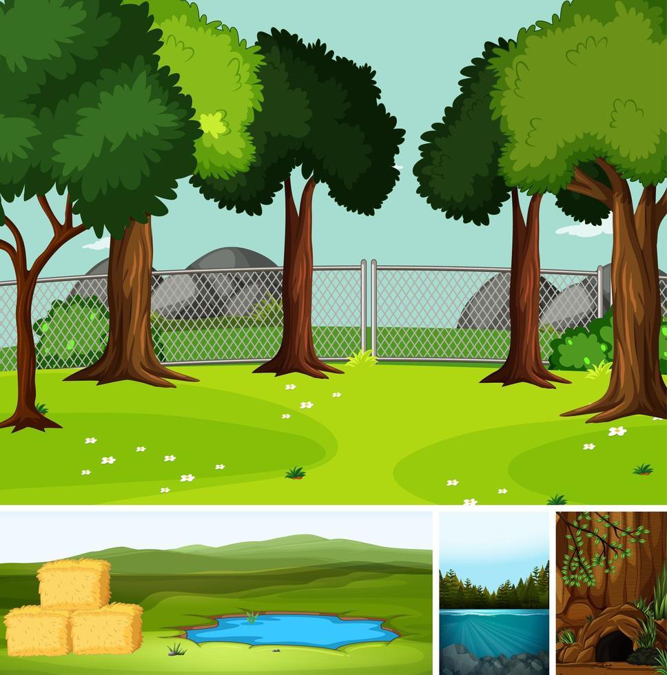 quattro diverse scene in ambiente naturale vettore