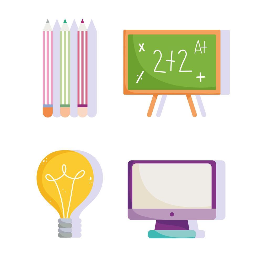 torna a scuola, lavagna, computer e matite a colori. vettore