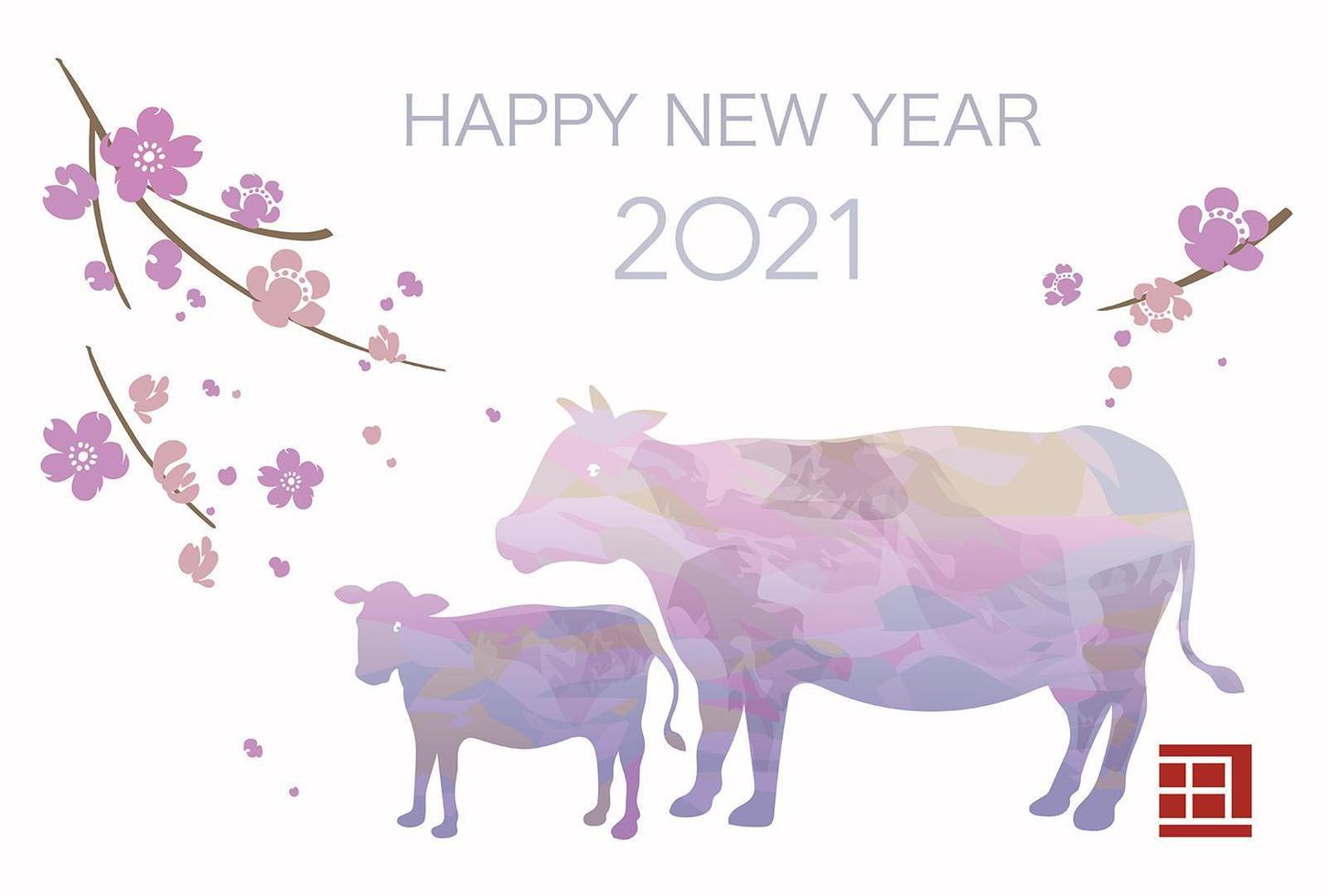 2021 anno del bue biglietto di auguri di capodanno vettore
