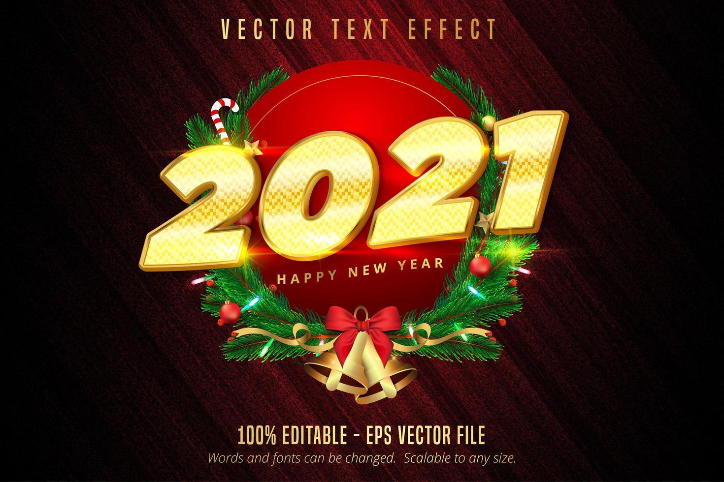 2021 felice anno nuovo oro lucido testo cerchio design vettore