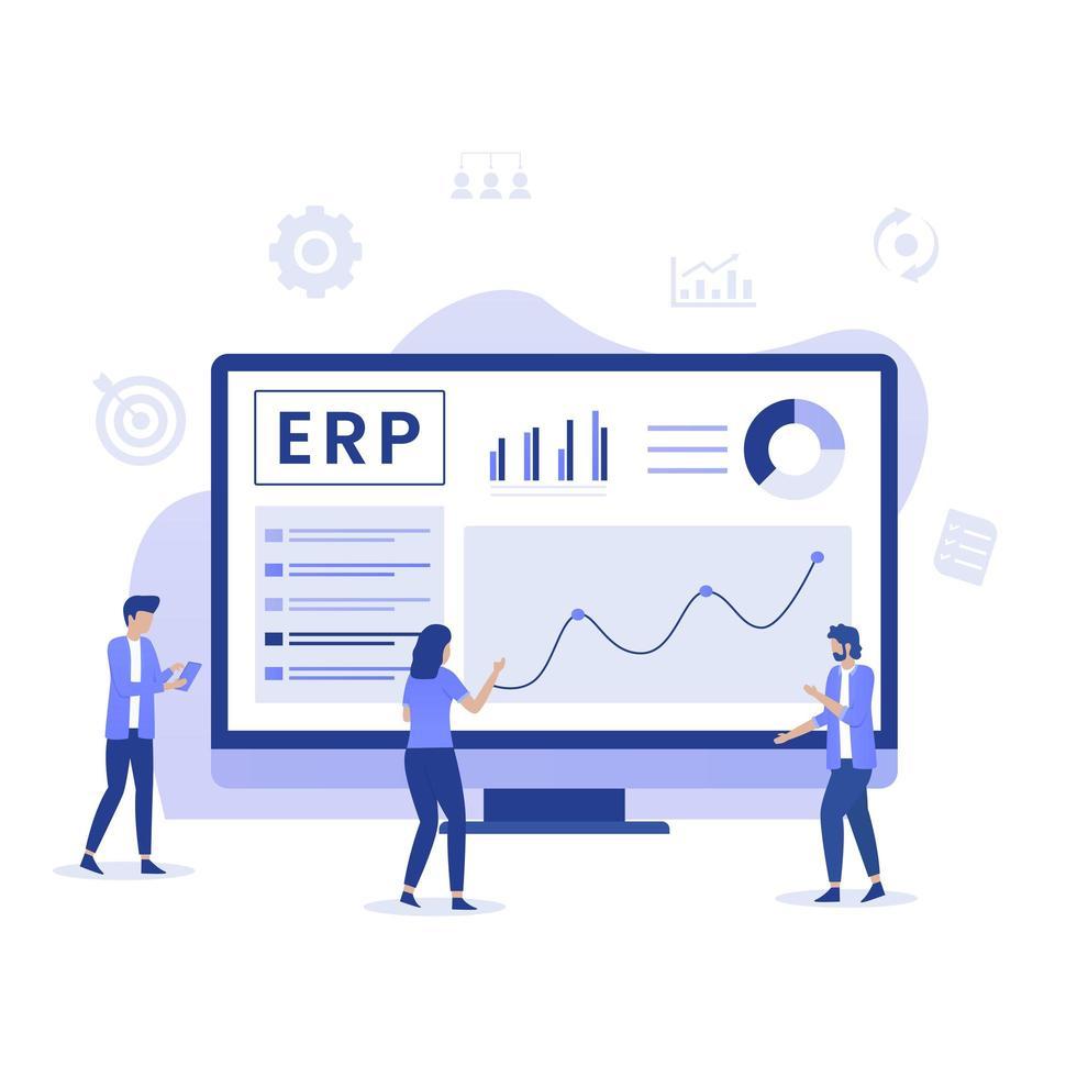 ERP concetto di pianificazione delle risorse aziendali vettore
