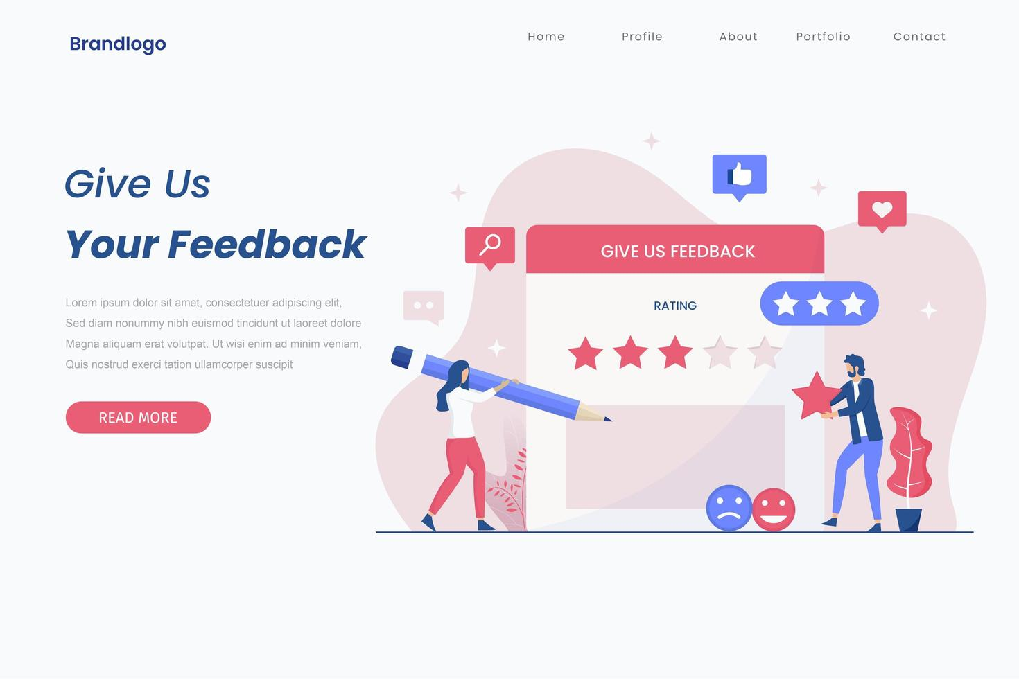 concetto di pagina di destinazione del feedback online vettore