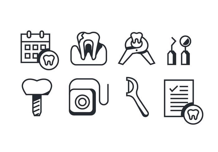 pacchetto di vettore di icone di dentista