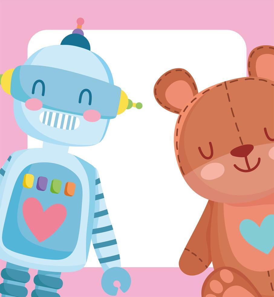 cartone animato piccolo robot e orsacchiotto vettore