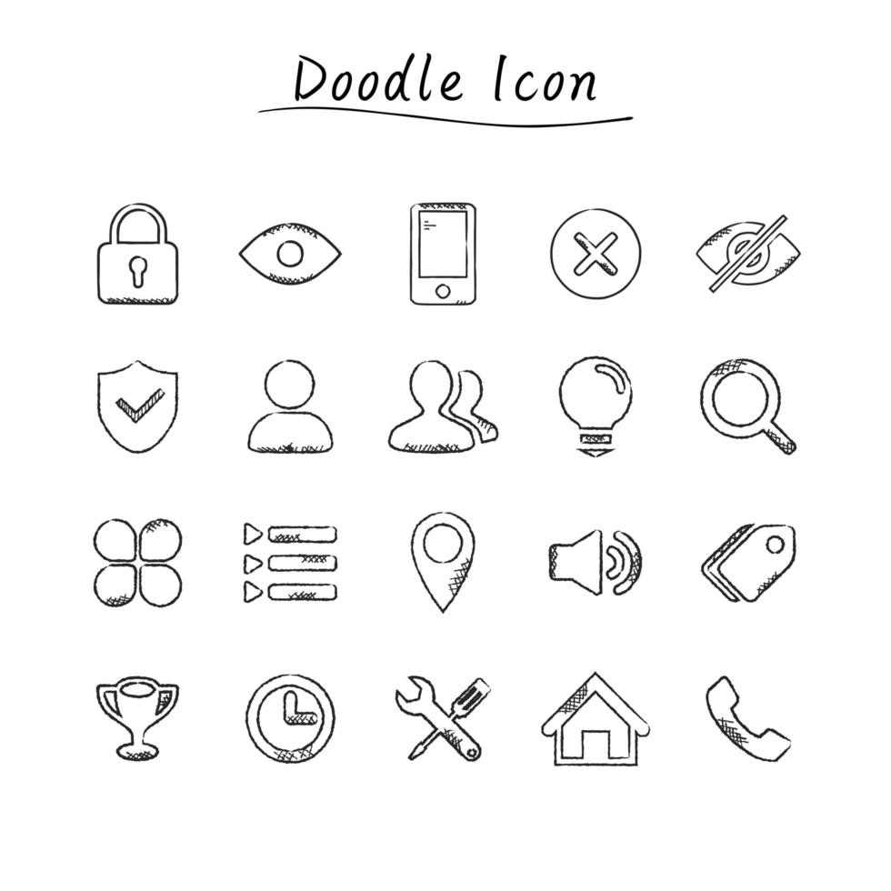 doodle icone di affari vettore