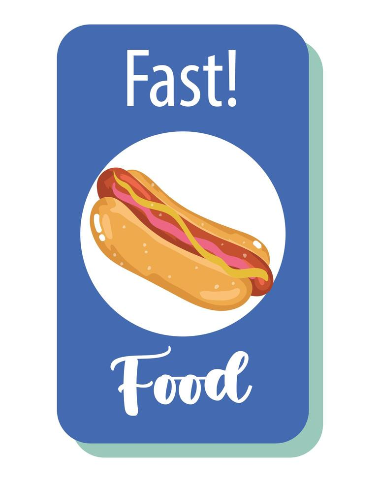 Fast food. poster del ristorante menu malsano hot dog vettore