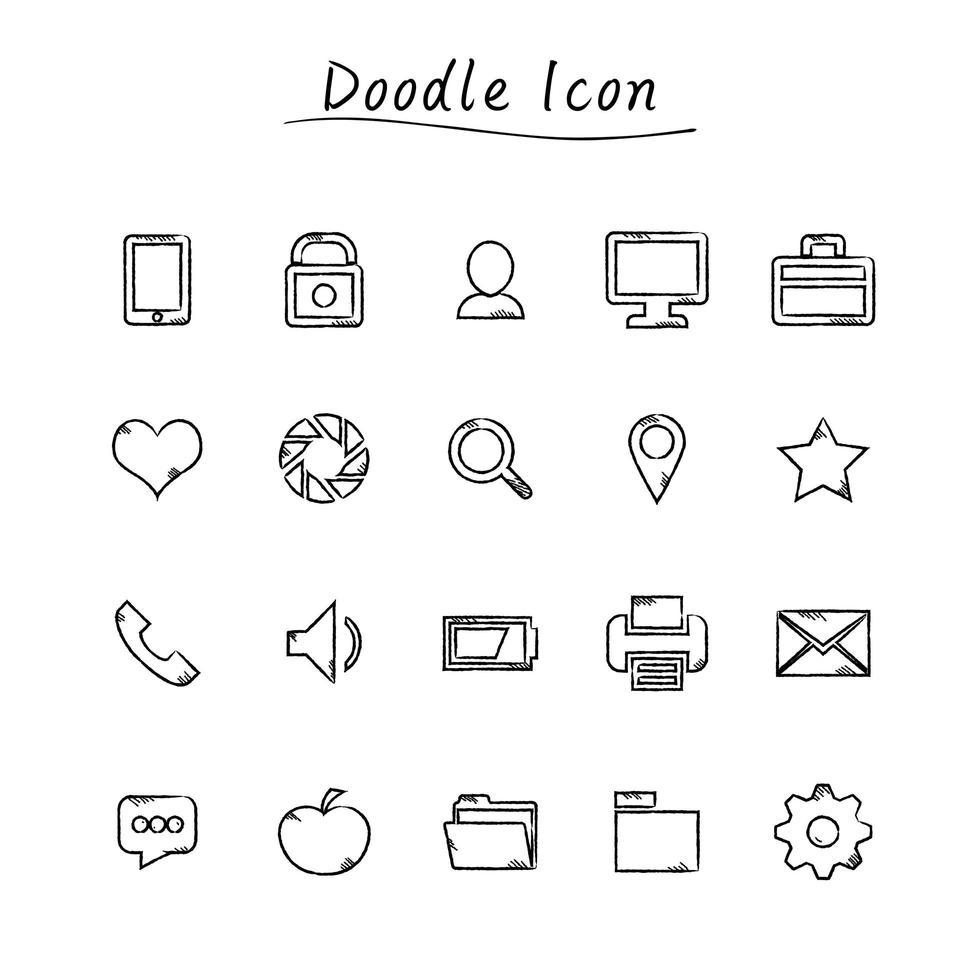 Doodle icone di educazione vettore