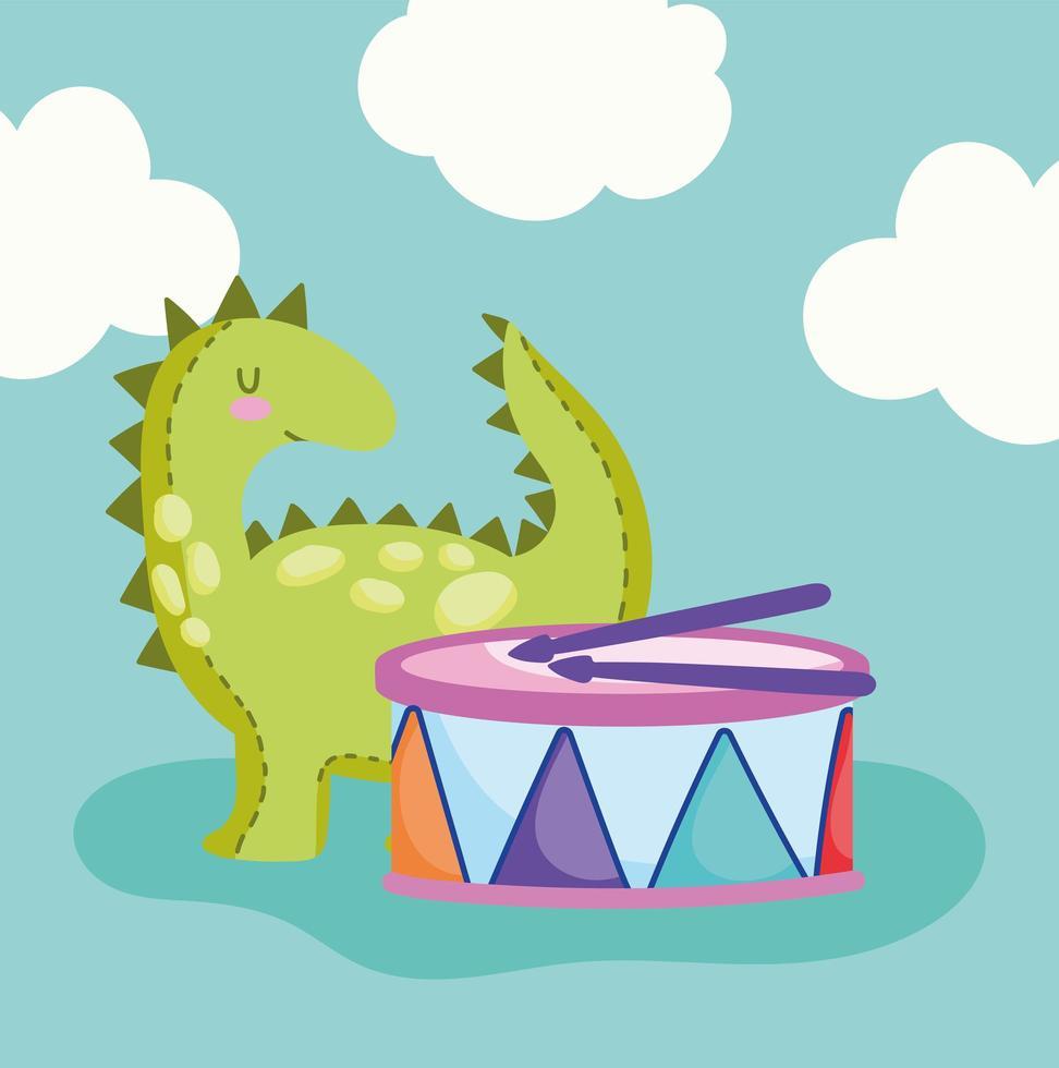 cartone animato piccolo dinosauro e tamburo musicale vettore