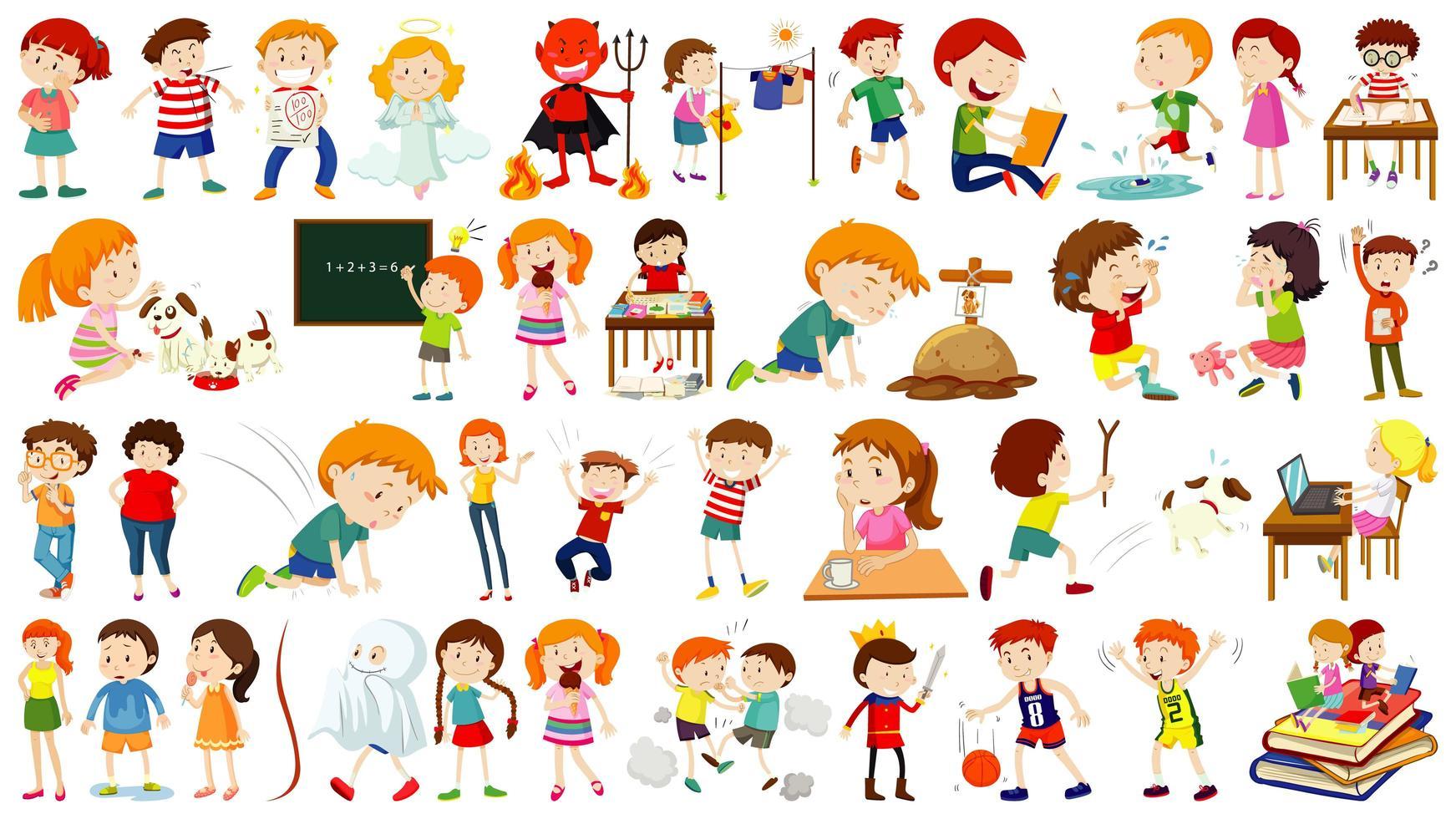 set di personaggi dei cartoni animati per bambini vettore