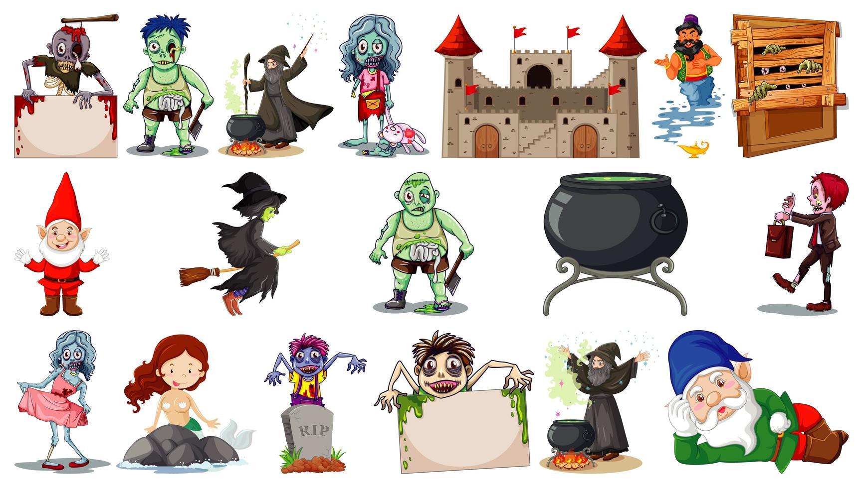 personaggi dei cartoni animati fantasy e tema fantasy isolato su sfondo bianco vettore