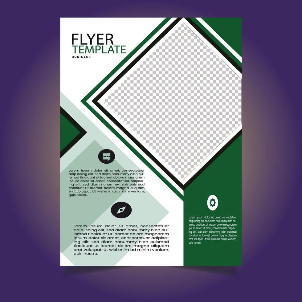 modello di volantino aziendale a forma di diamante verde e bianco vettore