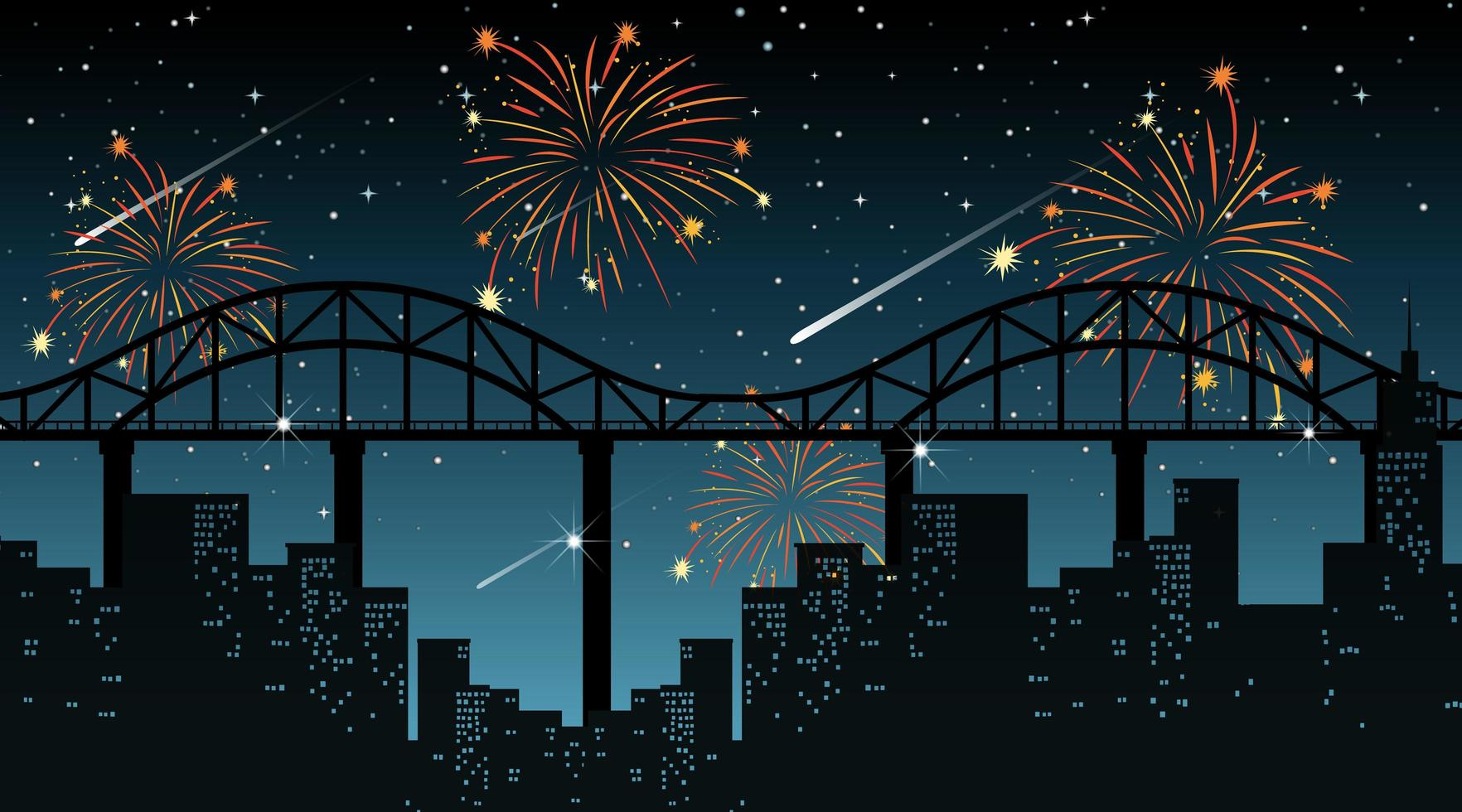 paesaggio urbano con scena di fuochi d'artificio di celebrazione vettore