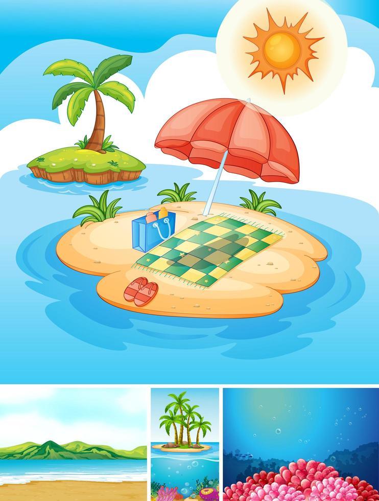 spiaggia tropicale e scene subacquee vettore