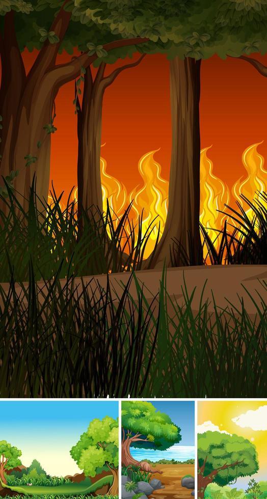 quattro diverse scene di foresta in stile cartone animato vettore