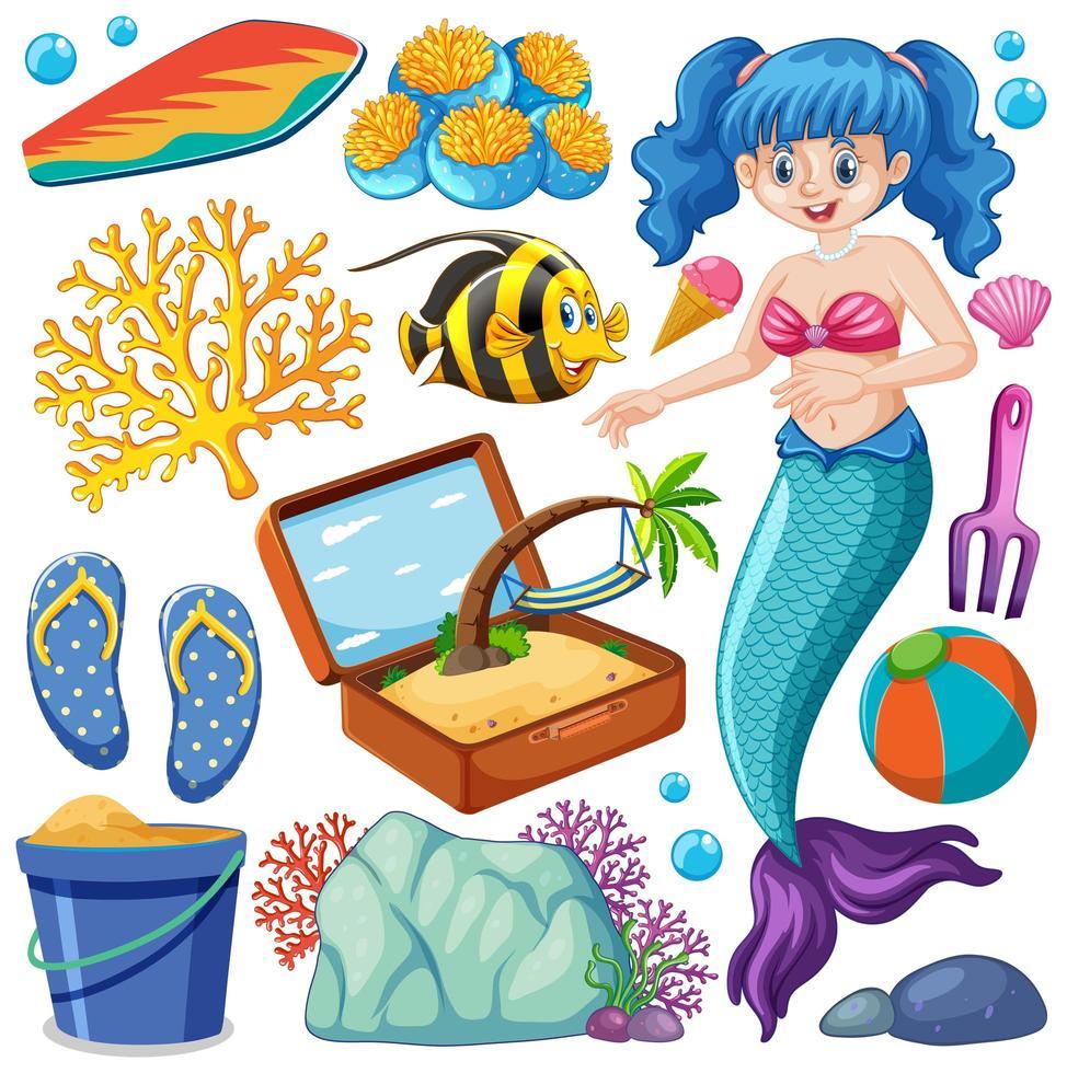 set di animali marini e personaggio dei cartoni animati sirena vettore