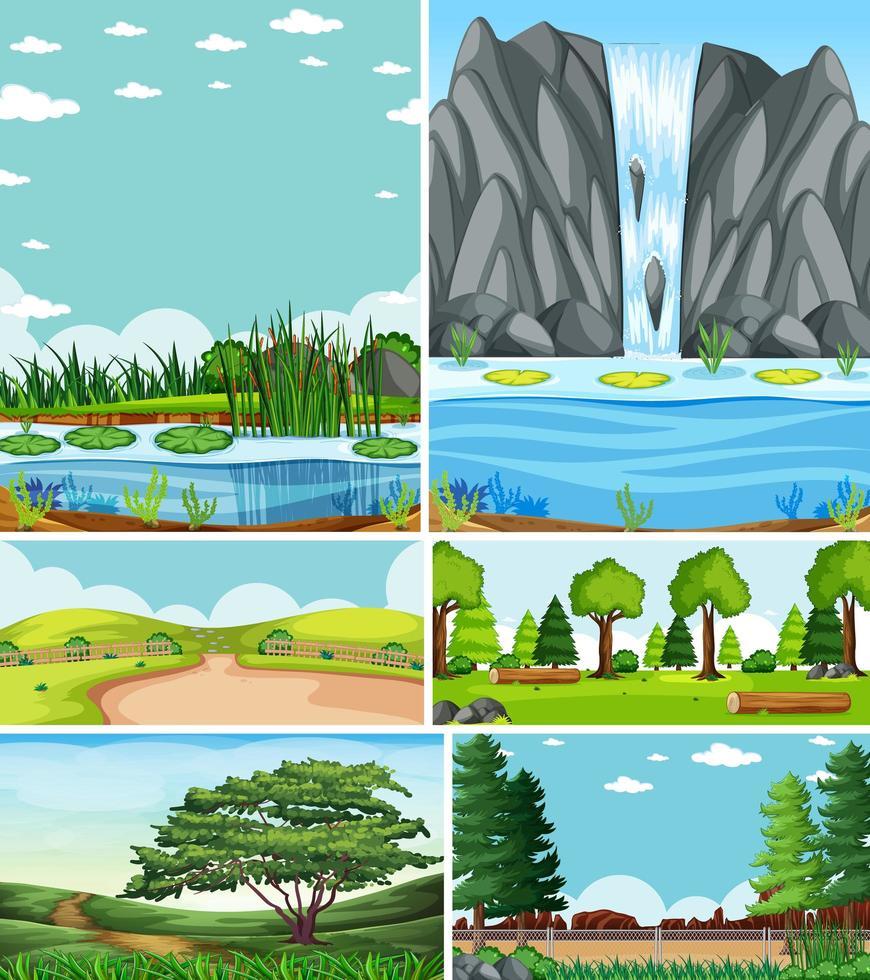 sei diverse scene in natura in stile cartone animato vettore