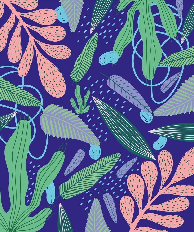 foglie tropicali e fogliame sullo sfondo vettore