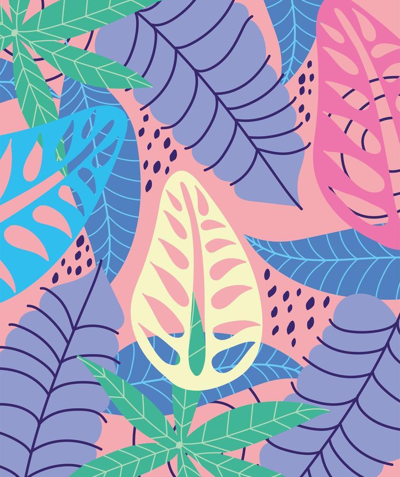 foglie tropicali colorate e sfondo fogliame vettore