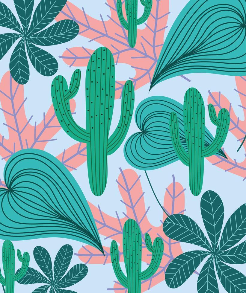 cactus e sfondo fogliame esotico vettore