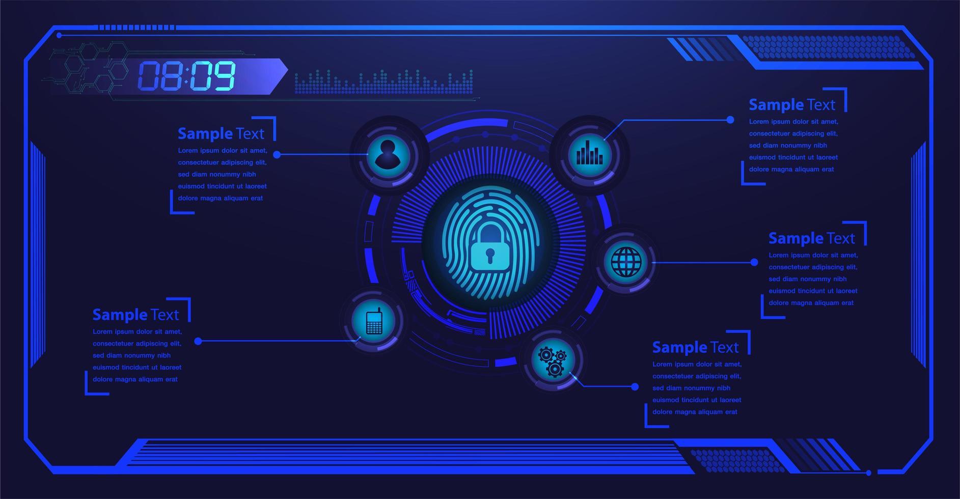 impronta digitale blu hud lucchetto chiuso sul modello digitale vettore