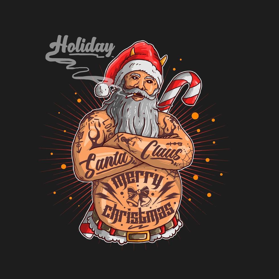 Babbo Natale con i tatuaggi vettore
