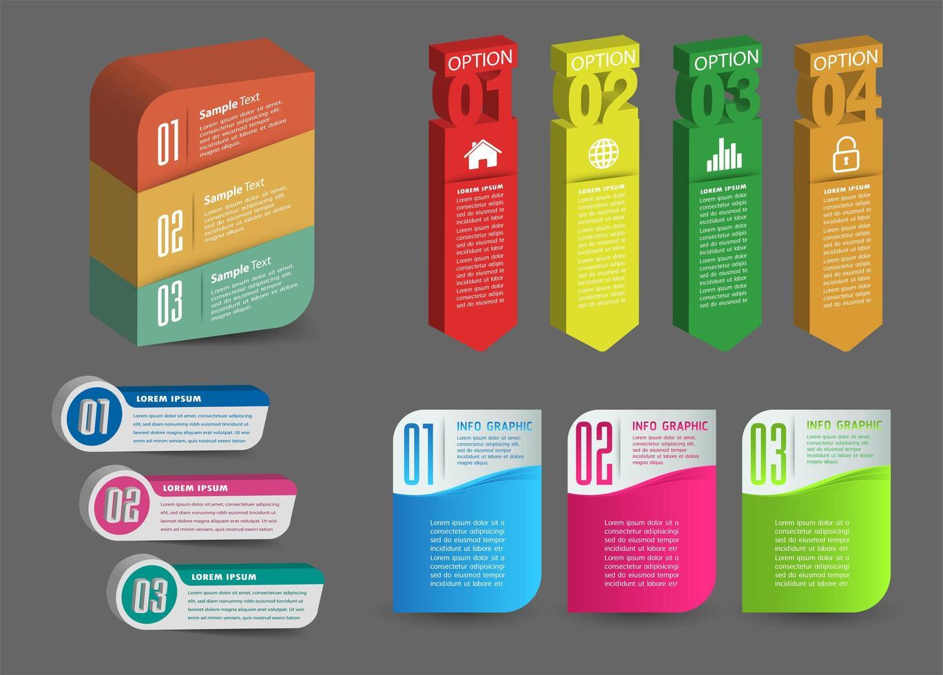 moderna infografica 3d con elementi di testo vettore