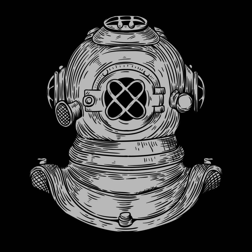casco da immersione vintage disegnato a mano vettore