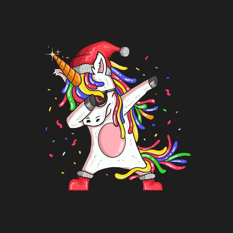 tamponando la grafica natalizia di unicorno vettore