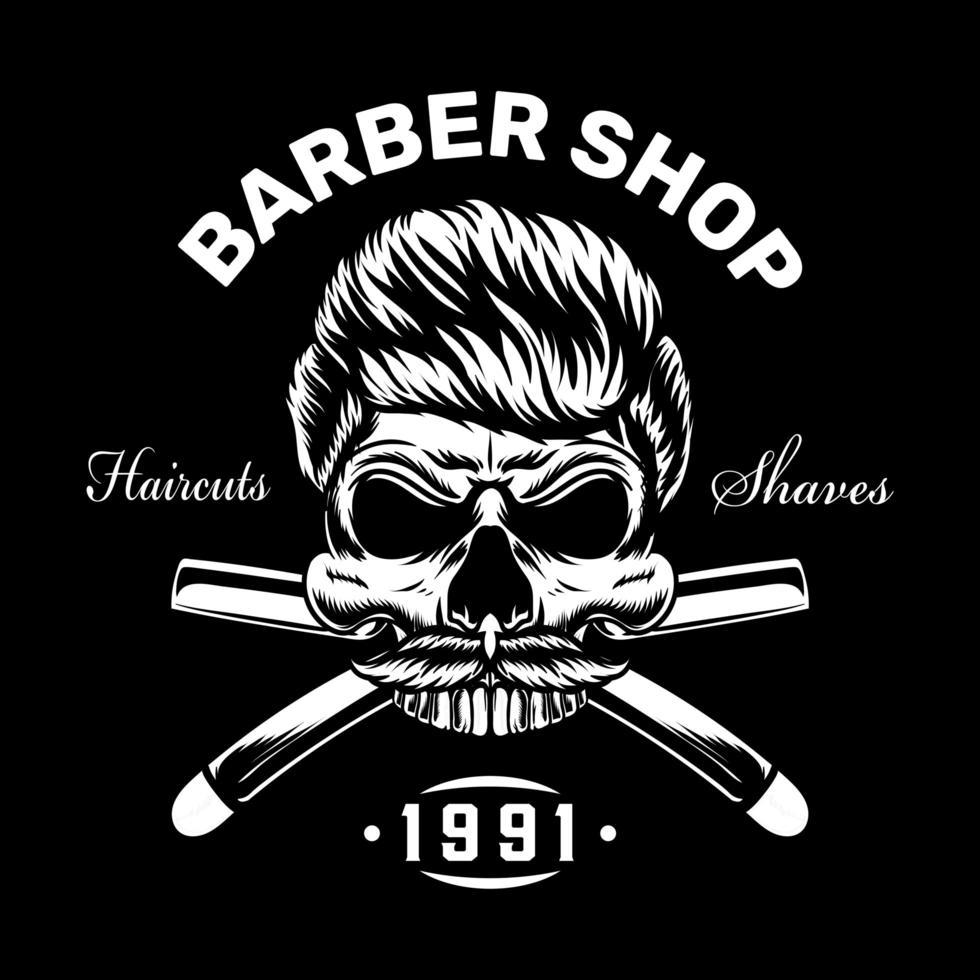 teschio vintage design di abbigliamento da barbiere vettore