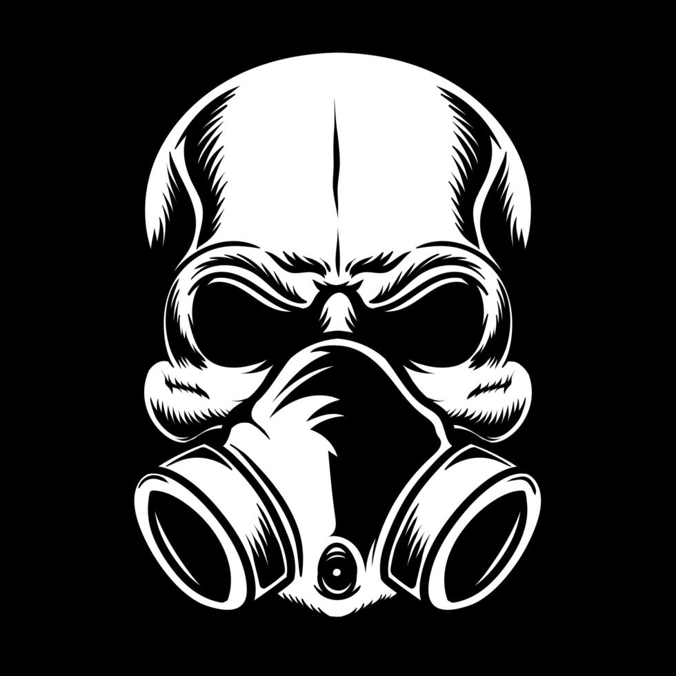 teschio con maschera respiratoria vettore